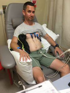 Life after myeloma diagnosis. Me hooked up to cables in the hospital. Did not see this coming